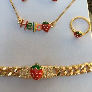 Other - Strawberry jewelry set 14k gold plated